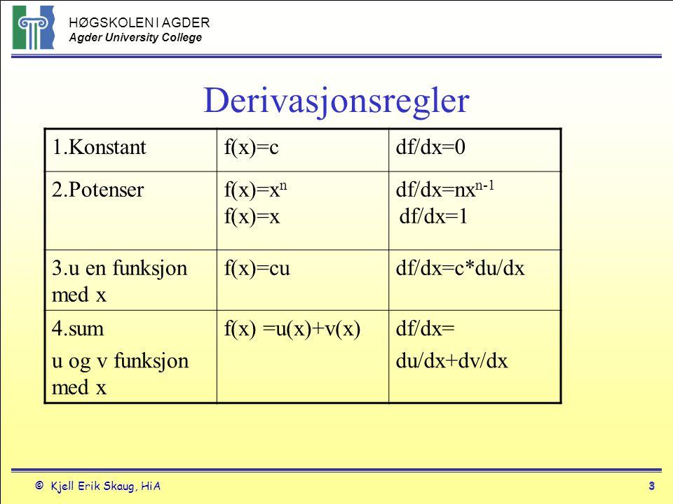HØGSKOLEN I AGDER Agder University College © Kjell Erik Skaug, HiA2 Derivasjon Notasjon: y`eller f`(x) uttales deriverte av y dy/dx, df/dx, df(x)/dx uttales dydx y`| x=a er den deriverte av y for x=a Y`= dy/dx