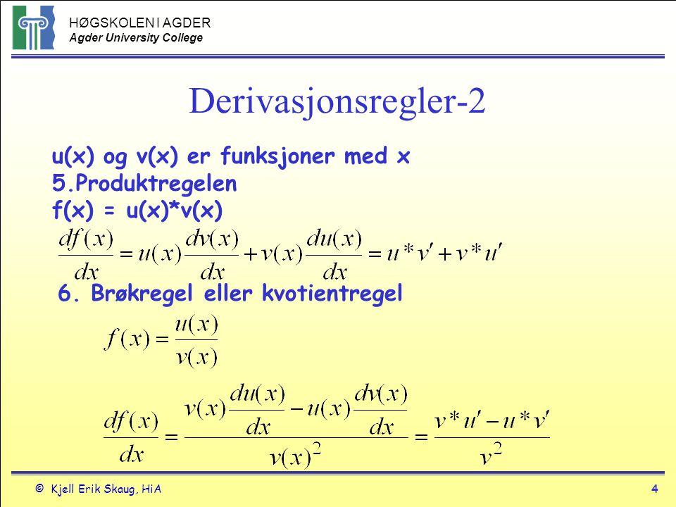 HØGSKOLEN I AGDER Agder University College © Kjell Erik Skaug, HiA3 Derivasjonsregler 1.Konstantf(x)=cdf/dx=0 2.Potenserf(x)=x n f(x)=x df/dx=nx n-1 df/dx=1 3.u en funksjon med x f(x)=cudf/dx=c*du/dx 4.sum u og v funksjon med x f(x) =u(x)+v(x)df/dx= du/dx+dv/dx