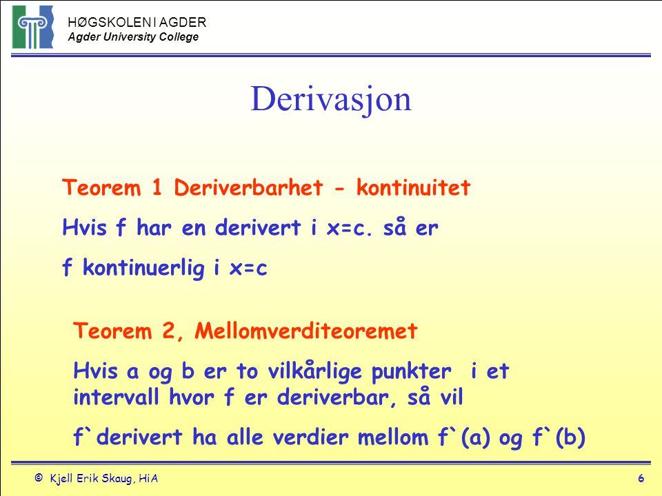 HØGSKOLEN I AGDER Agder University College © Kjell Erik Skaug, HiA5 Derivasjon Ekpempel y=|x| er deriverbar for alle verdier av x unntatt x=0 fordi y=x når x=>0 og y`= 1 og y=-x når x<0 og y`= -1 Funksjoner er ikke deriverbar for x=0 fordi den deriverte skifter verdi i x=0.