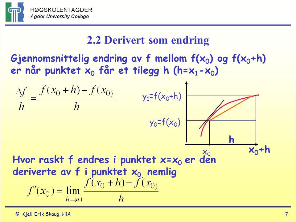HØGSKOLEN I AGDER Agder University College © Kjell Erik Skaug, HiA6 Derivasjon Teorem 1 Deriverbarhet - kontinuitet Hvis f har en derivert i x=c.
