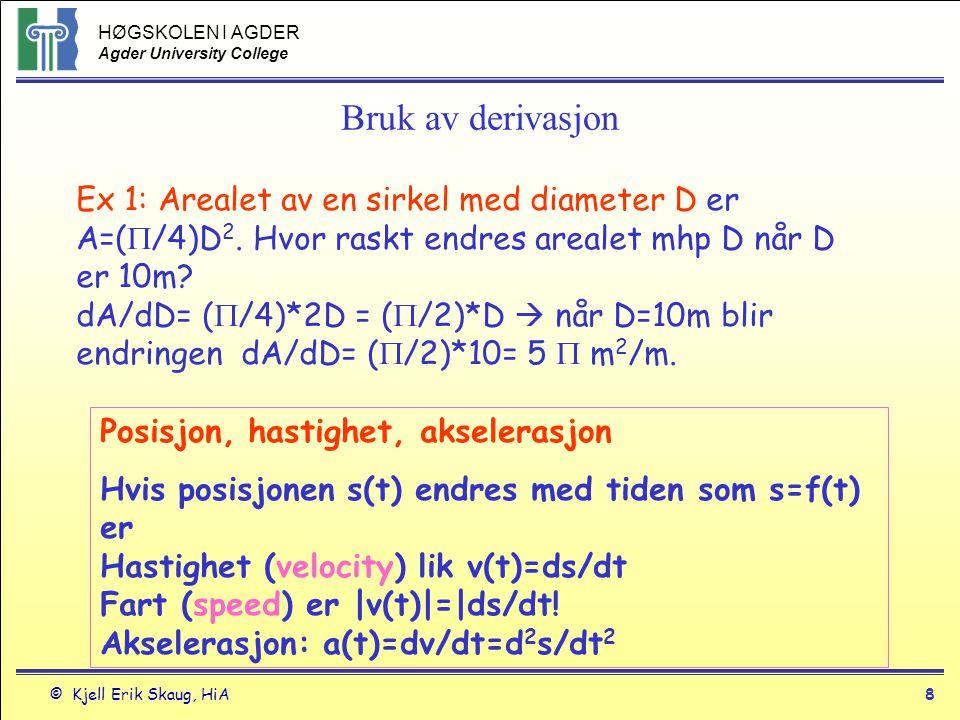 HØGSKOLEN I AGDER Agder University College © Kjell Erik Skaug, HiA7 2.2 Derivert som endring Gjennomsnittelig endring av f mellom f(x 0 ) og f(x 0 +h) er når punktet x 0 får et tilegg h (h=x 1 -x 0 ) Hvor raskt f endres i punktet x=x 0 er den deriverte av f i punktet x 0, nemlig x0x0 y 1 =f(x 0 +h) y 0 =f(x 0 ) x 0 +h h