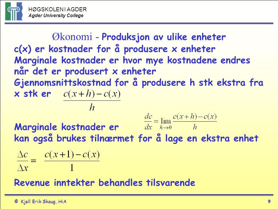 HØGSKOLEN I AGDER Agder University College © Kjell Erik Skaug, HiA8 Bruk av derivasjon Ex 1: Arealet av en sirkel med diameter D er A=(  /4)D 2.