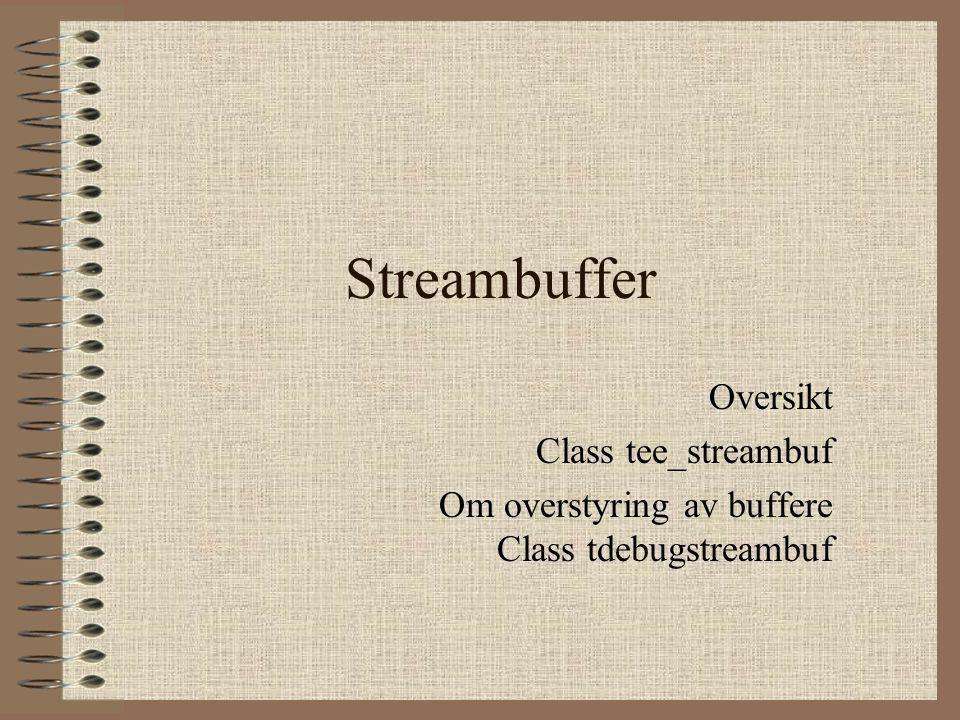 Streambuffer Oversikt Class tee_streambuf Om overstyring av buffere Class tdebugstreambuf