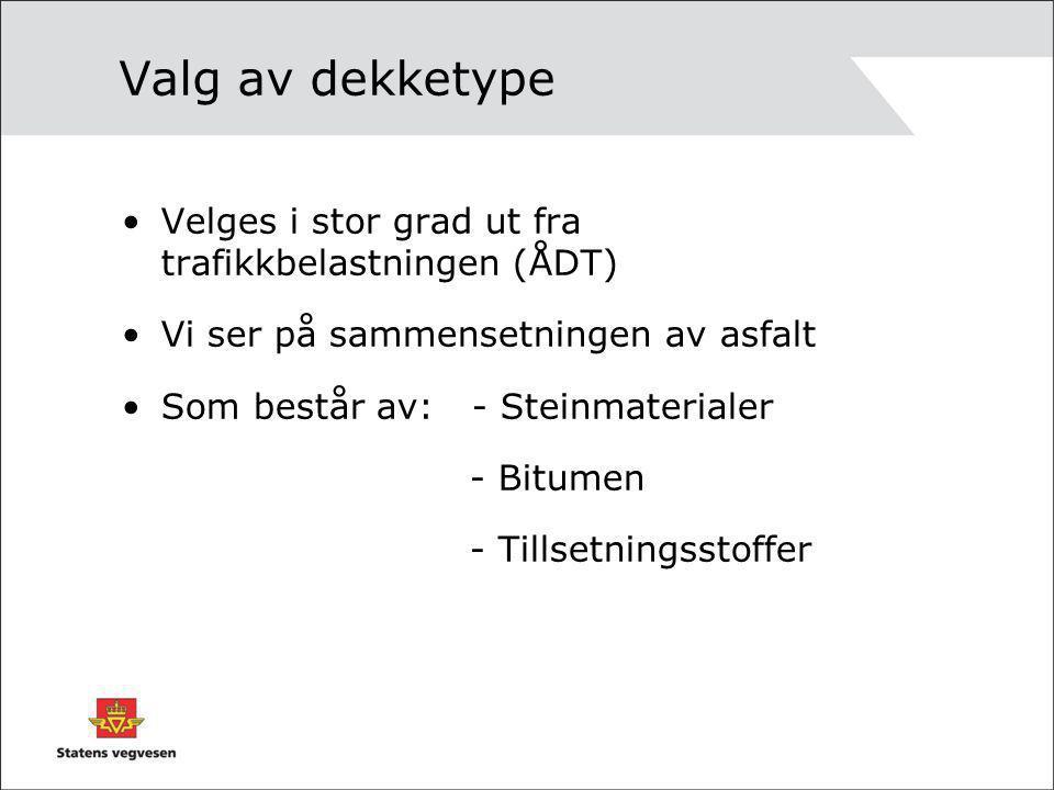 Valg av dekketype •Velges i stor grad ut fra trafikkbelastningen (ÅDT) •Vi ser på sammensetningen av asfalt •Som består av: - Steinmaterialer - Bitume