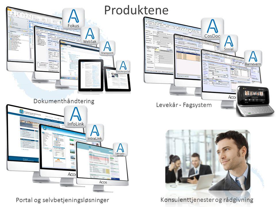 Produktene Portal Dokumenthåndtering Levekår - Fagsystem Portal og selvbetjeningsløsninger Konsulenttjenester og rådgivning