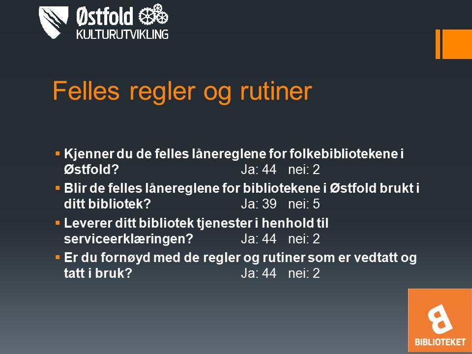 Felles regler og rutiner  Kjenner du de felles lånereglene for folkebibliotekene i Østfold?Ja: 44nei: 2  Blir de felles lånereglene for bibliotekene