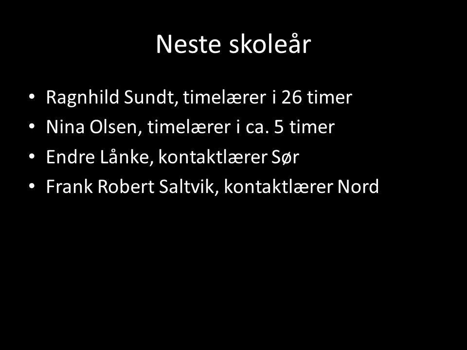 Neste skoleår • Ragnhild Sundt, timelærer i 26 timer • Nina Olsen, timelærer i ca. 5 timer • Endre Lånke, kontaktlærer Sør • Frank Robert Saltvik, kon
