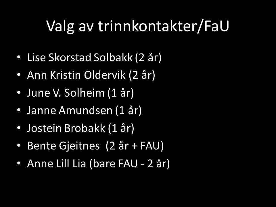 Valg av trinnkontakter/FaU • Lise Skorstad Solbakk (2 år) • Ann Kristin Oldervik (2 år) • June V. Solheim (1 år) • Janne Amundsen (1 år) • Jostein Bro