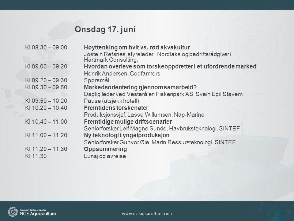 Onsdag 17. juni Kl 08.30 – 09.00 Høyttenking om hvit vs.