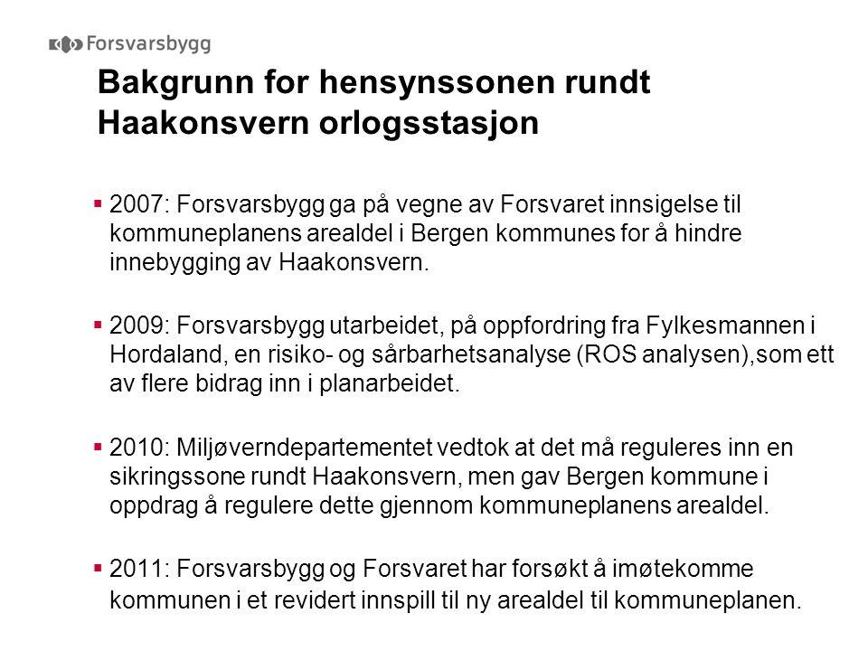 Bakgrunn for hensynssonen rundt Haakonsvern orlogsstasjon  2007: Forsvarsbygg ga på vegne av Forsvaret innsigelse til kommuneplanens arealdel i Berge