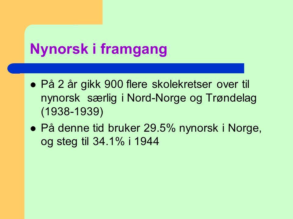 Nynorsk i framgang  På 2 år gikk 900 flere skolekretser over til nynorsk særlig i Nord-Norge og Trøndelag (1938-1939)  På denne tid bruker 29.5% nyn
