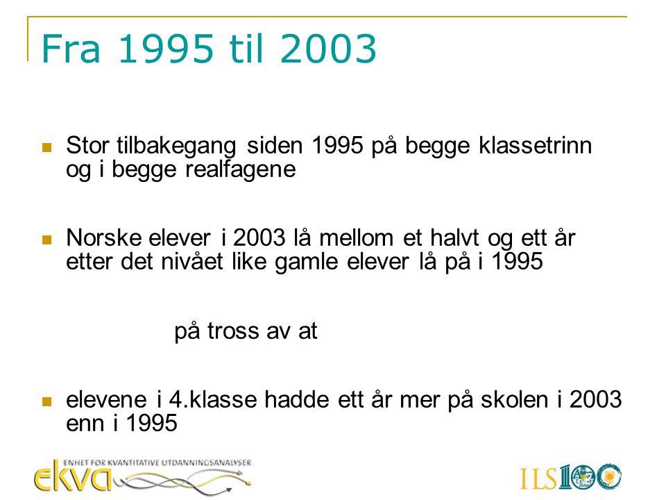 Fra 1995 til 2003  Stor tilbakegang siden 1995 på begge klassetrinn og i begge realfagene  Norske elever i 2003 lå mellom et halvt og ett år etter d