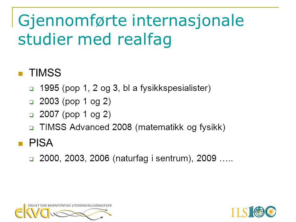 Gjennomførte internasjonale studier med realfag  TIMSS  1995 (pop 1, 2 og 3, bl a fysikkspesialister)  2003 (pop 1 og 2)  2007 (pop 1 og 2)  TIMS
