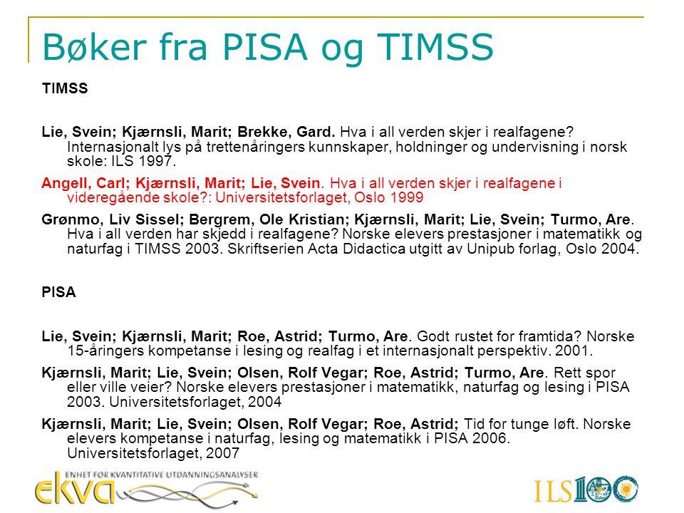 Bøker fra PISA og TIMSS TIMSS Lie, Svein; Kjærnsli, Marit; Brekke, Gard. Hva i all verden skjer i realfagene? Internasjonalt lys på trettenåringers ku