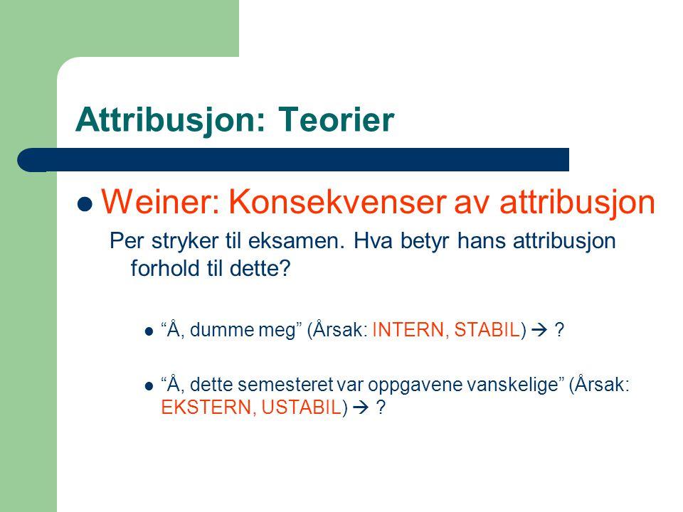 Attribusjon: Teorier  Weiner: Konsekvenser av attribusjon Per stryker til eksamen.