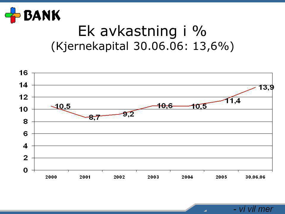 - vi vil mer Ek avkastning i % (Kjernekapital 30.06.06: 13,6%)