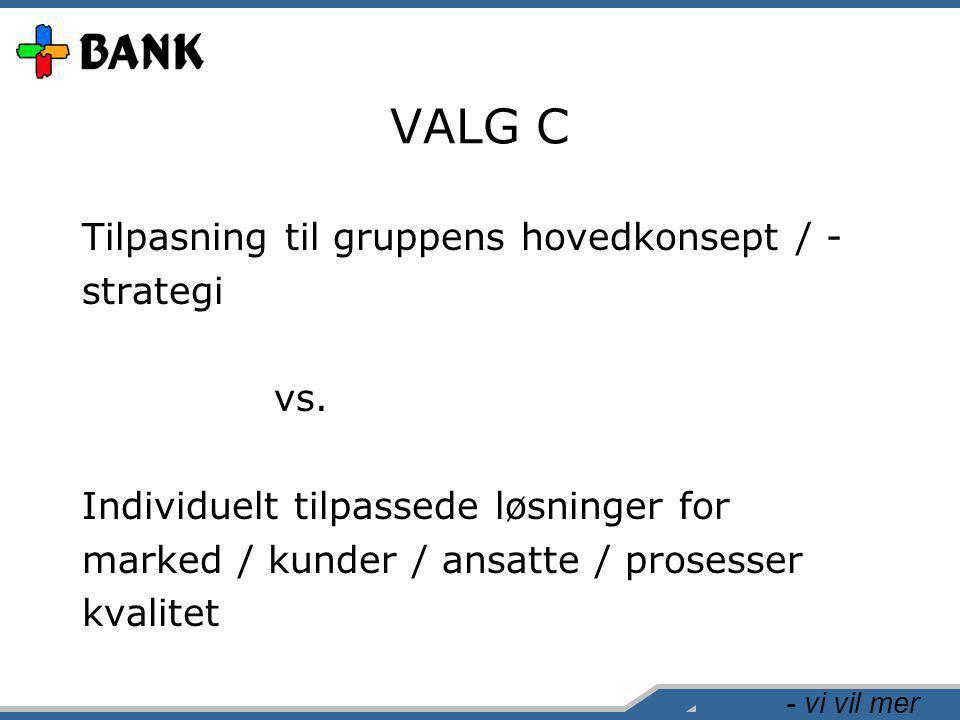 - vi vil mer VALG C Tilpasning til gruppens hovedkonsept / - strategi vs.
