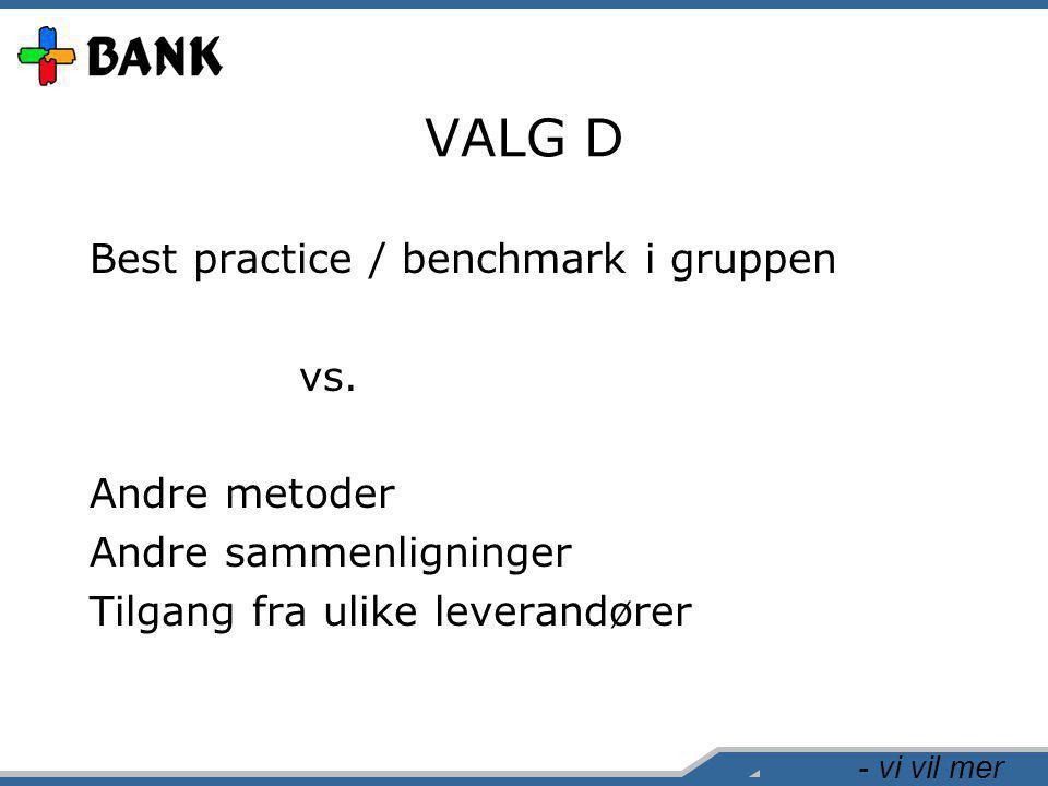 - vi vil mer VALG D Best practice / benchmark i gruppen vs. Andre metoder Andre sammenligninger Tilgang fra ulike leverandører