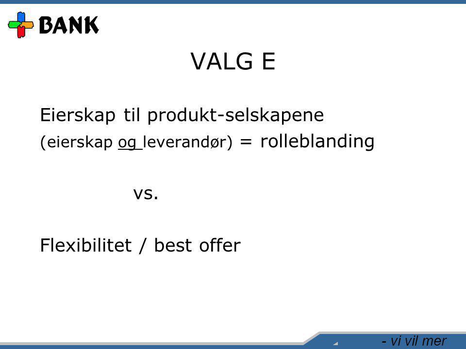 - vi vil mer VALG E Eierskap til produkt-selskapene (eierskap og leverandør) = rolleblanding vs. Flexibilitet / best offer