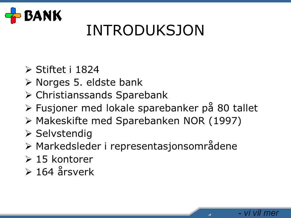 - vi vil mer INTRODUKSJON  Stiftet i 1824  Norges 5. eldste bank  Christianssands Sparebank  Fusjoner med lokale sparebanker på 80 tallet  Makesk