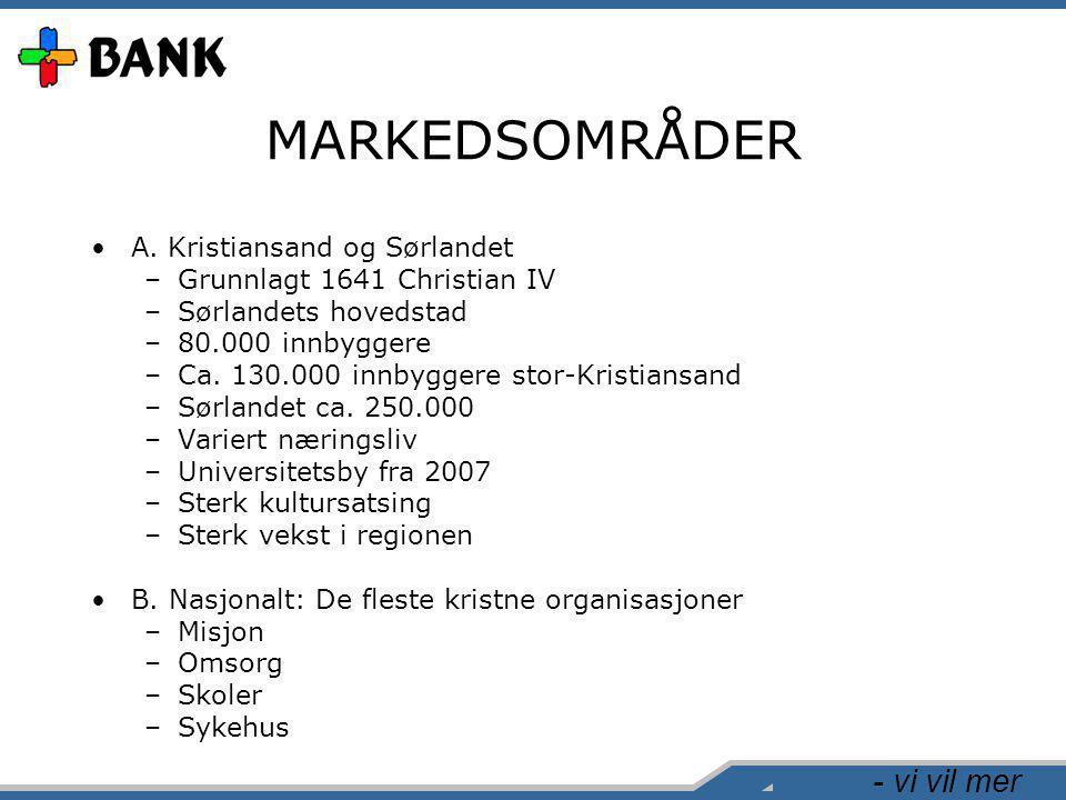 - vi vil mer MARKEDSOMRÅDER •A. Kristiansand og Sørlandet –Grunnlagt 1641 Christian IV –Sørlandets hovedstad –80.000 innbyggere –Ca. 130.000 innbygger