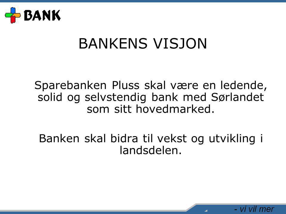 - vi vil mer BANKENS VISJON Sparebanken Pluss skal være en ledende, solid og selvstendig bank med Sørlandet som sitt hovedmarked. Banken skal bidra ti