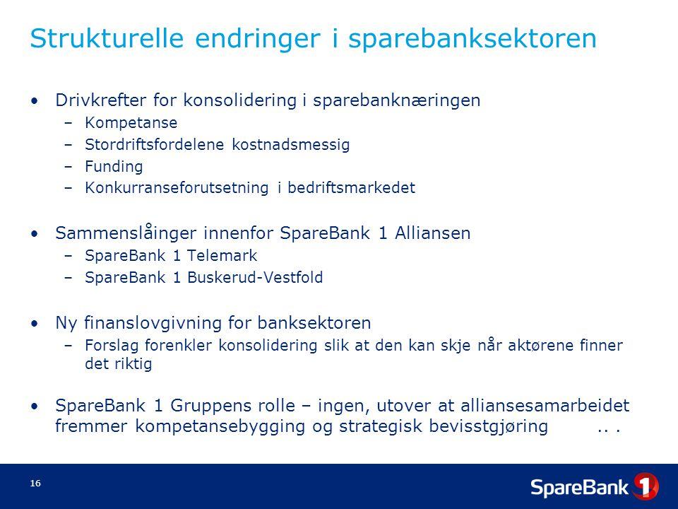 16 Strukturelle endringer i sparebanksektoren •Drivkrefter for konsolidering i sparebanknæringen –Kompetanse –Stordriftsfordelene kostnadsmessig –Fund