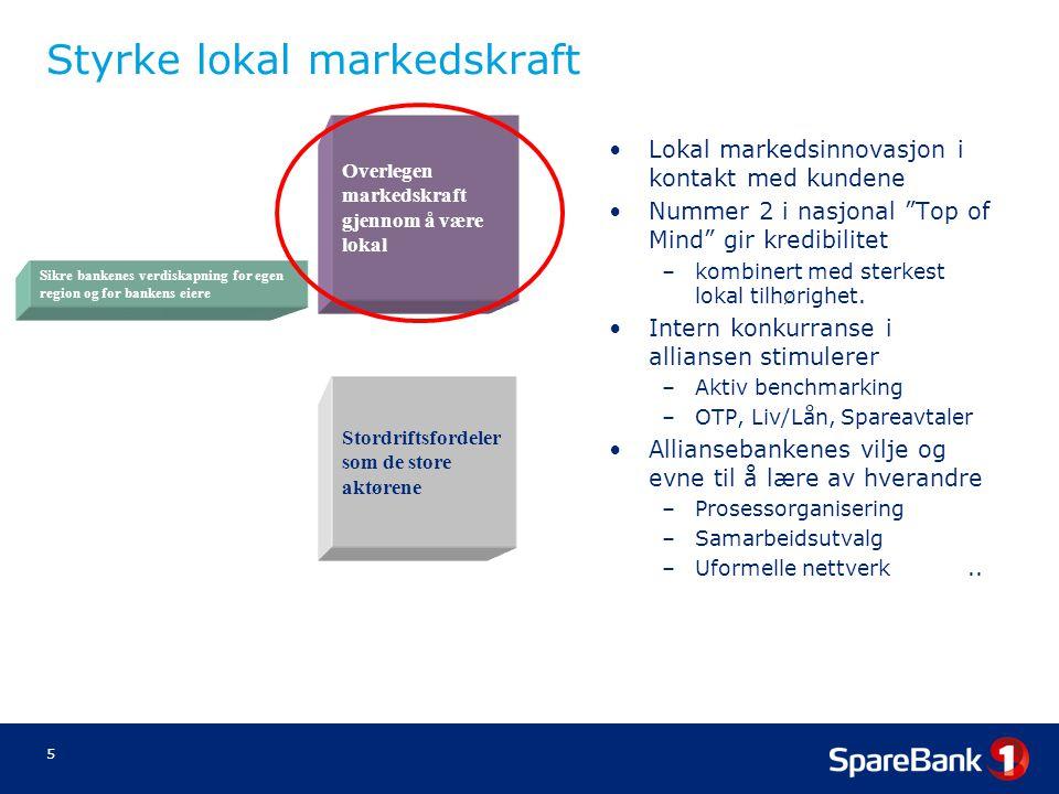 """5 Styrke lokal markedskraft •Lokal markedsinnovasjon i kontakt med kundene •Nummer 2 i nasjonal """"Top of Mind"""" gir kredibilitet –kombinert med sterkest"""