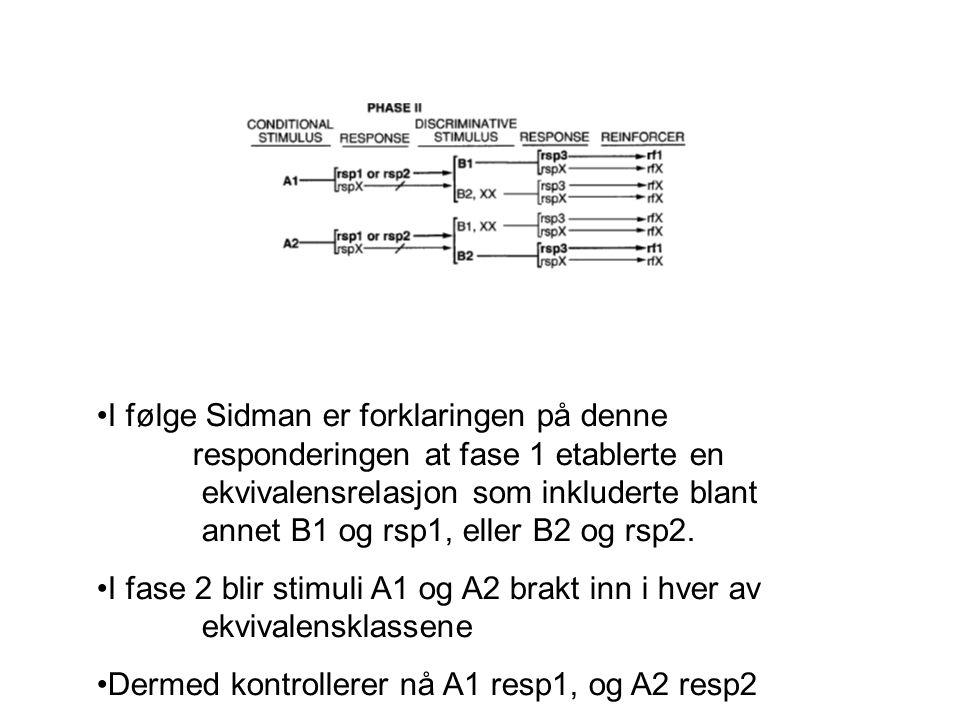 •I følge Sidman er forklaringen på denne responderingen at fase 1 etablerte en ekvivalensrelasjon som inkluderte blant annet B1 og rsp1, eller B2 og r