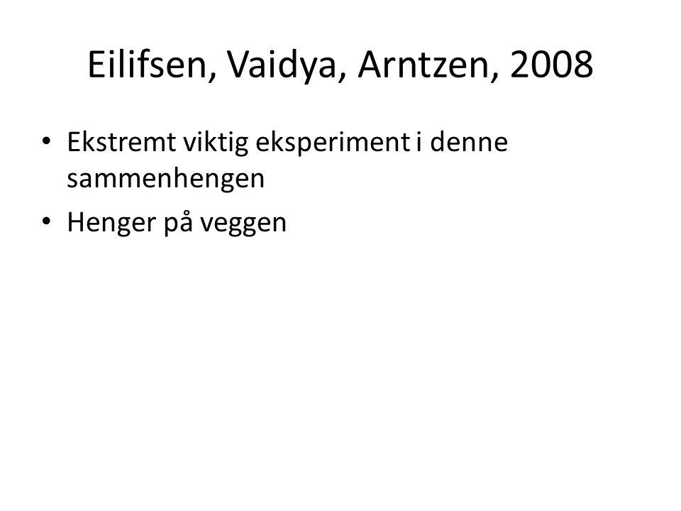 Eilifsen, Vaidya, Arntzen, 2008 • Ekstremt viktig eksperiment i denne sammenhengen • Henger på veggen