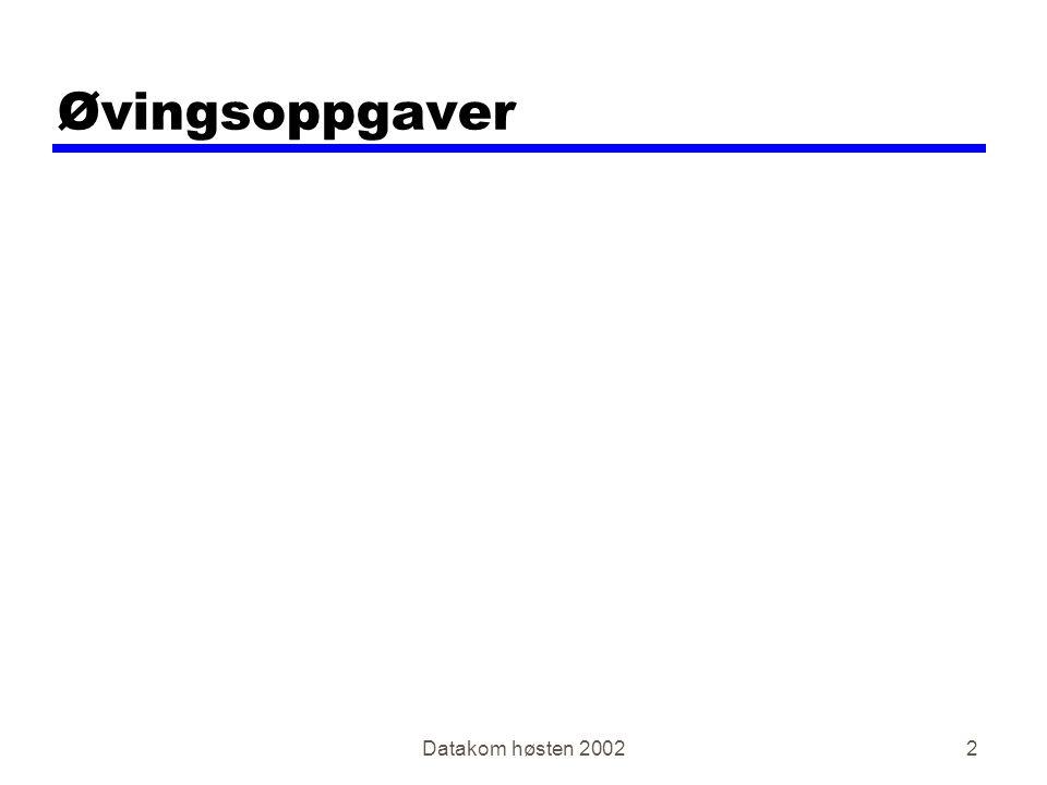 Datakom høsten 20022 Øvingsoppgaver