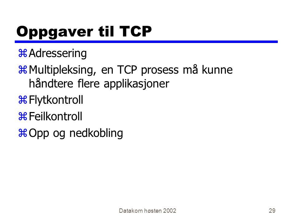 Datakom høsten 200229 Oppgaver til TCP zAdressering zMultipleksing, en TCP prosess må kunne håndtere flere applikasjoner zFlytkontroll zFeilkontroll zOpp og nedkobling