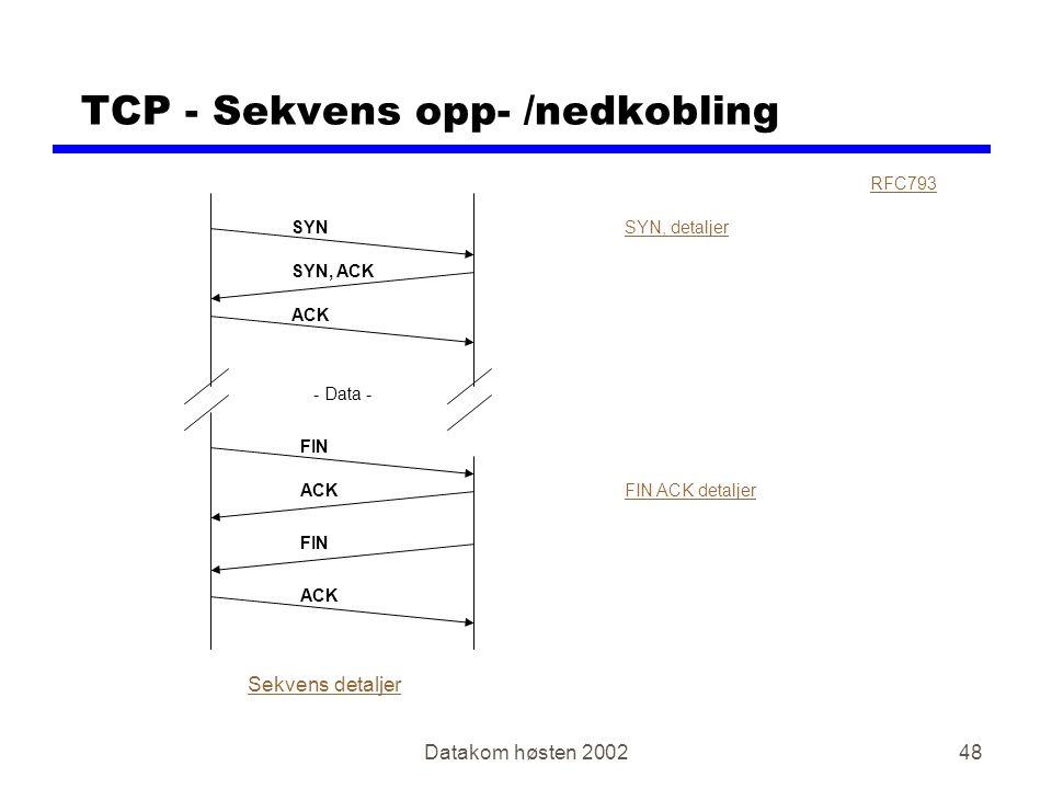 Datakom høsten 200248 TCP - Sekvens opp- /nedkobling RFC793 SYN SYN, ACK ACK FIN ACK SYN, detaljer FIN ACK detaljer Sekvens detaljer - Data - FIN