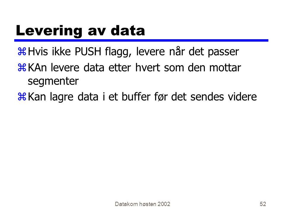 Datakom høsten 200252 Levering av data zHvis ikke PUSH flagg, levere når det passer zKAn levere data etter hvert som den mottar segmenter zKan lagre data i et buffer før det sendes videre