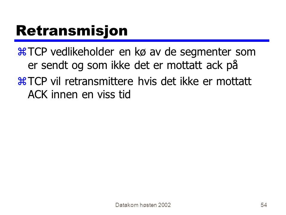 Datakom høsten 200254 Retransmisjon zTCP vedlikeholder en kø av de segmenter som er sendt og som ikke det er mottatt ack på zTCP vil retransmittere hvis det ikke er mottatt ACK innen en viss tid