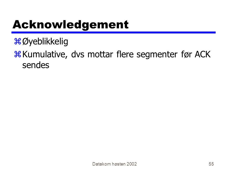 Datakom høsten 200255 Acknowledgement zØyeblikkelig zKumulative, dvs mottar flere segmenter før ACK sendes
