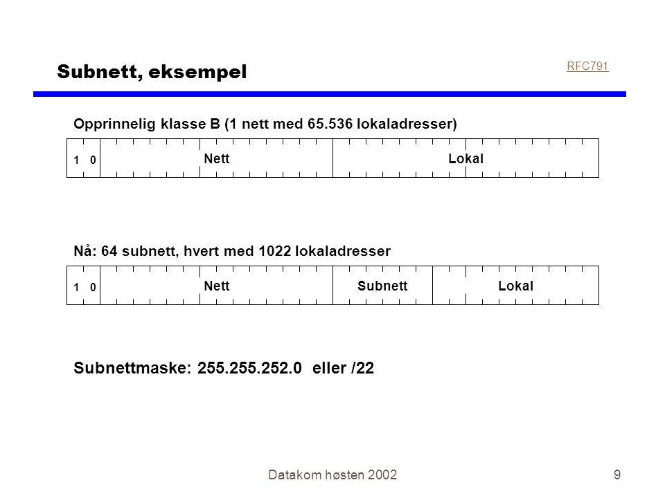 Datakom høsten 20029 Subnett, eksempel RFC791 01 NettLokal Opprinnelig klasse B (1 nett med 65.536 lokaladresser) Nå: 64 subnett, hvert med 1022 lokaladresser 01 NettSubnettLokal Subnettmaske: 255.255.252.0 eller /22