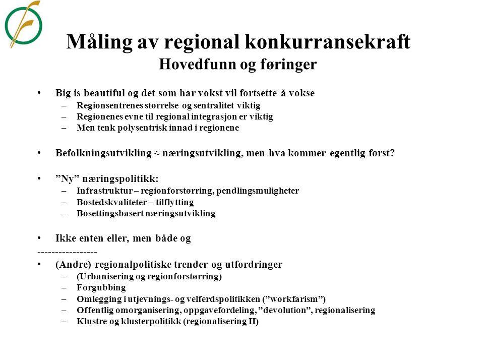 Måling av regional konkurransekraft i Norge og Sverige ØF-Regionenes tilstand: 50 indikatorer for 89 øk. Regioner: * Robuste regioner og sentra, * Liv