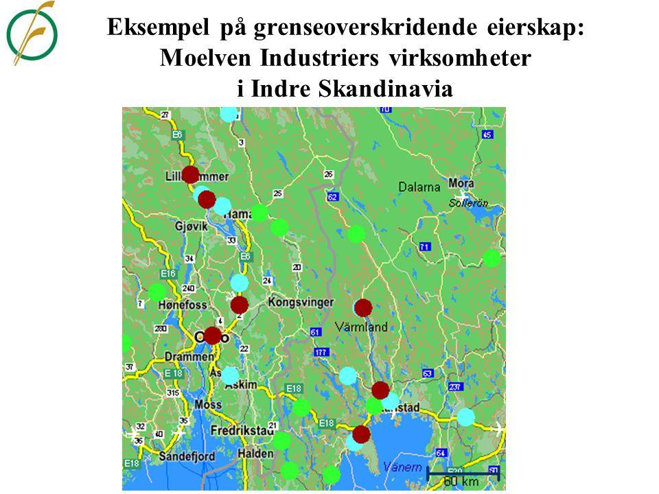 Eksempel på regional spesialisering: Skog- og trenæringens sysselsettingsandeler i IS