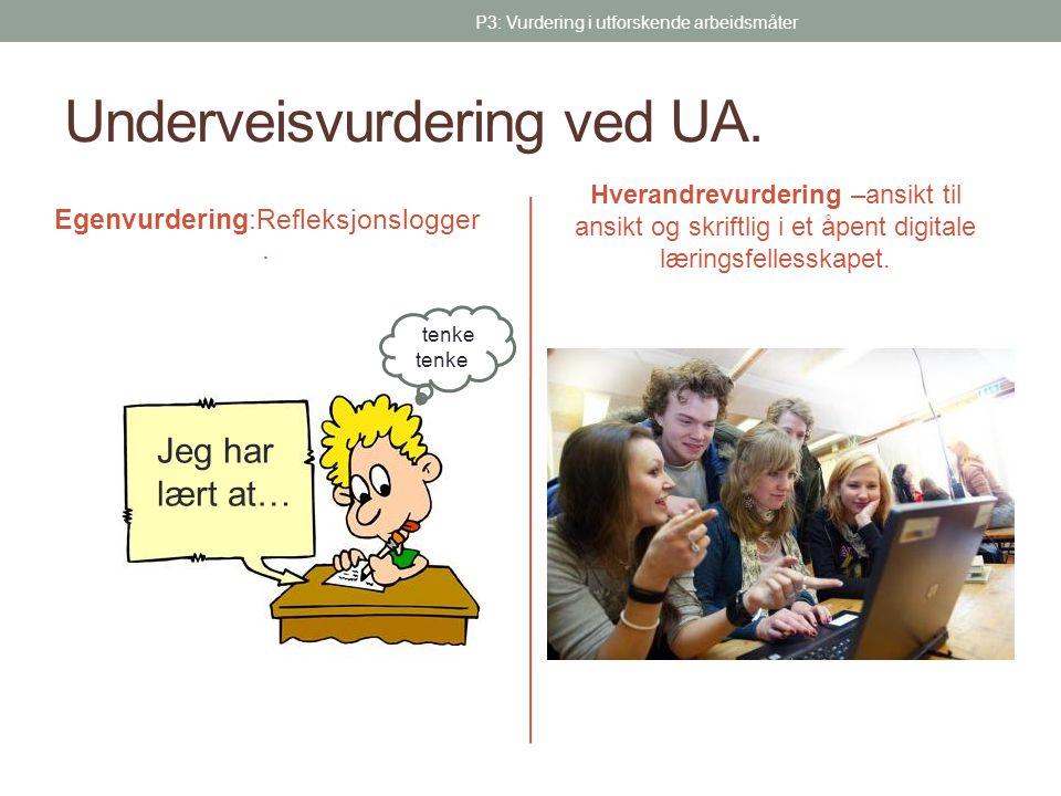 Underveisvurdering ved UA. Hverandrevurdering –ansikt til ansikt og skriftlig i et åpent digitale læringsfellesskapet. Egenvurdering:Refleksjonslogger