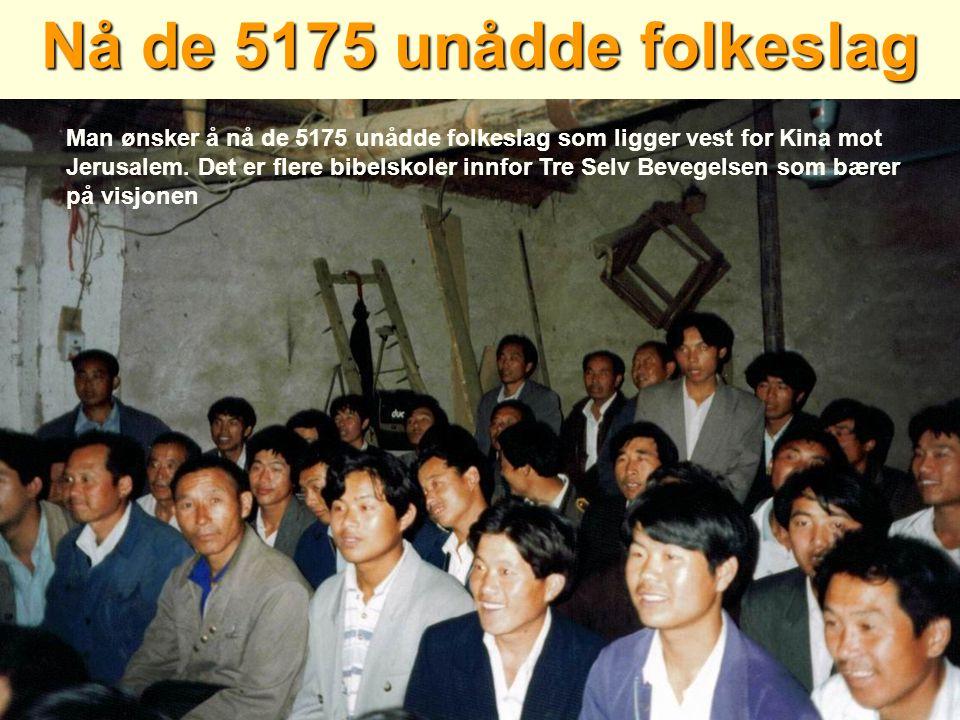 Nå de 5175 unådde folkeslag Man ønsker å nå de 5175 unådde folkeslag som ligger vest for Kina mot Jerusalem. Det er flere bibelskoler innfor Tre Selv
