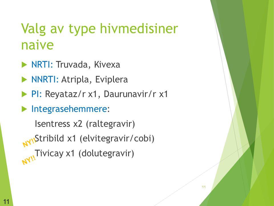 Valg av type hivmedisiner naive  NRTI: Truvada, Kivexa  NNRTI: Atripla, Eviplera  PI: Reyataz/r x1, Daurunavir/r x1  Integrasehemmere: Isentress x
