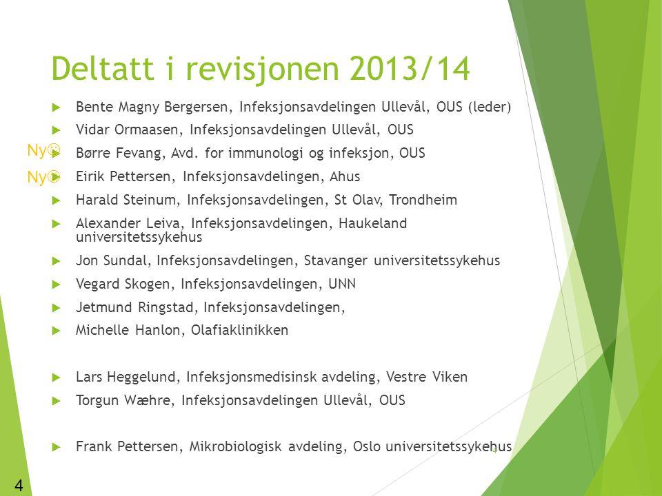 Deltatt i revisjonen 2013/14  Bente Magny Bergersen, Infeksjonsavdelingen Ullevål, OUS (leder)  Vidar Ormaasen, Infeksjonsavdelingen Ullevål, OUS 