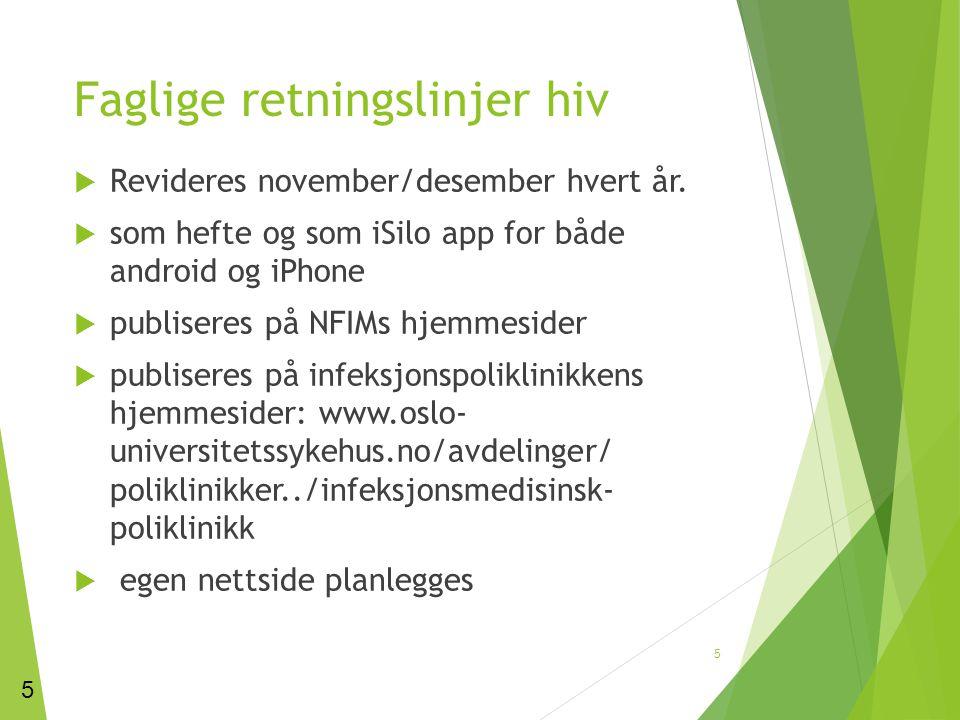 Faglige retningslinjer hiv  Revideres november/desember hvert år.  som hefte og som iSilo app for både android og iPhone  publiseres på NFIMs hjemm