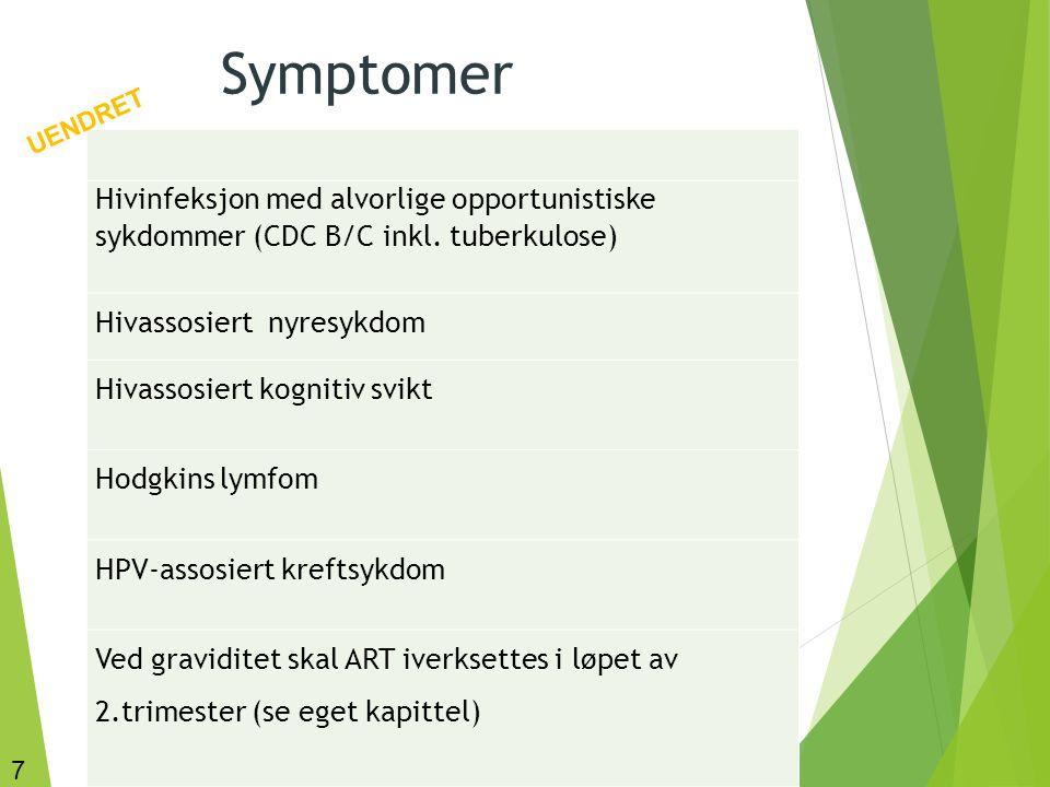 7 Symptomer Hivinfeksjon med alvorlige opportunistiske sykdommer (CDC B/C inkl. tuberkulose) Hivassosiert nyresykdom Hivassosiert kognitiv svikt Hodgk
