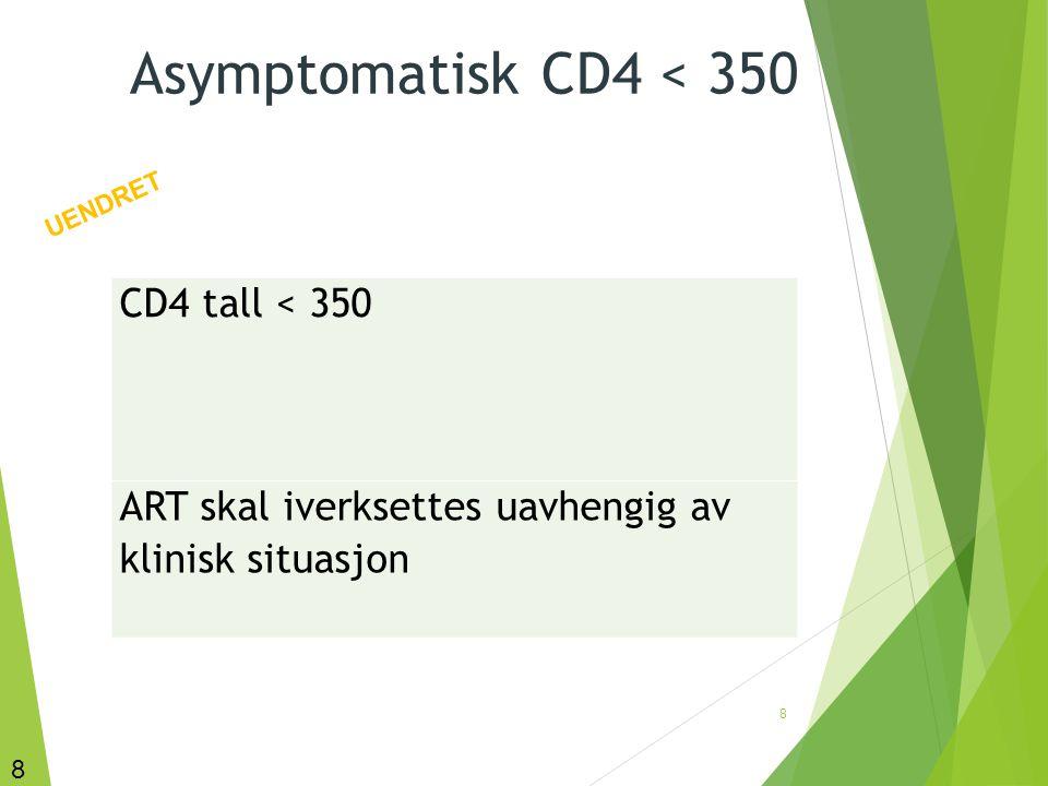 9 Asymptomatisk CD4 > 350: behandling vurderes iverksatt CD4 tall >350 Behandling vurderes iverksatt Det kan forsvares å avvente, og det kan forsvares å iverksette ART.