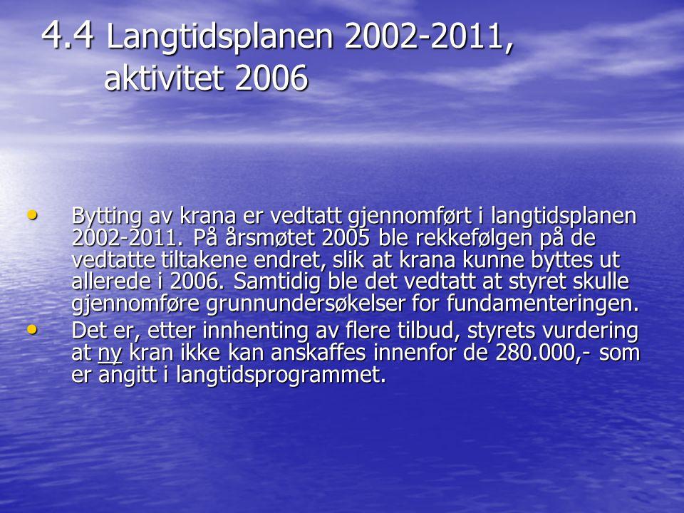 4.4 Langtidsplanen 2002-2011, aktivitet 2006 • Bytting av krana er vedtatt gjennomført i langtidsplanen 2002-2011. På årsmøtet 2005 ble rekkefølgen på