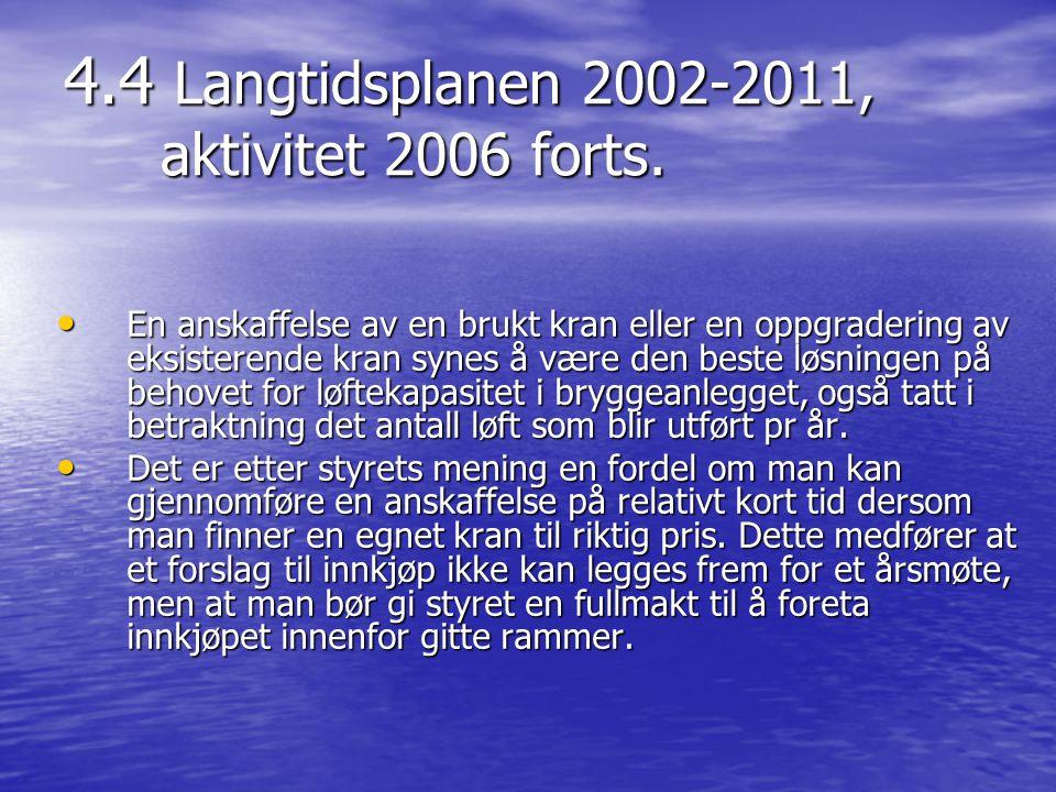 4.4 Langtidsplanen 2002-2011, aktivitet 2006 forts. • En anskaffelse av en brukt kran eller en oppgradering av eksisterende kran synes å være den best