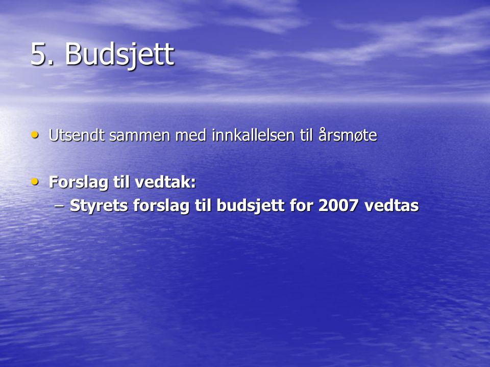 5. Budsjett • Utsendt sammen med innkallelsen til årsmøte • Forslag til vedtak: –Styrets forslag til budsjett for 2007 vedtas