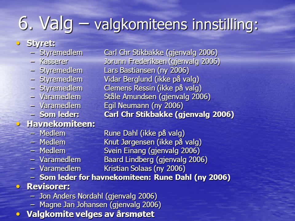 6. Valg – valgkomiteens innstilling: • Styret: –Styremedlem Carl Chr Stikbakke (gjenvalg 2006) –Kasserer Jorunn Frederiksen (gjenvalg 2006) –Styremedl